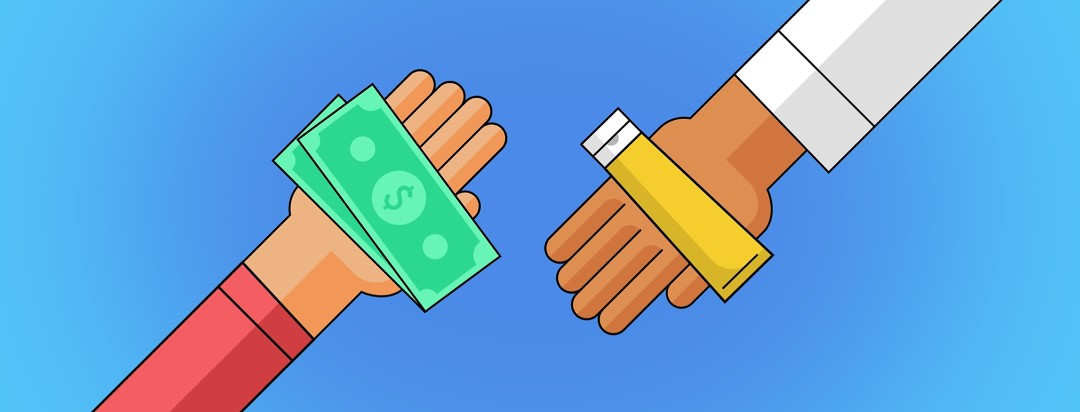 One hand with money on it and another hand with a topical prescription
