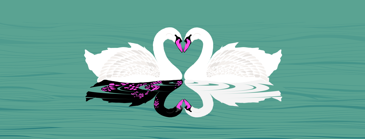 Image depicts two swans in a lake forming the iconic heart shape with their heads, while the reflection of the one swan is black with neon pink eczema spots.