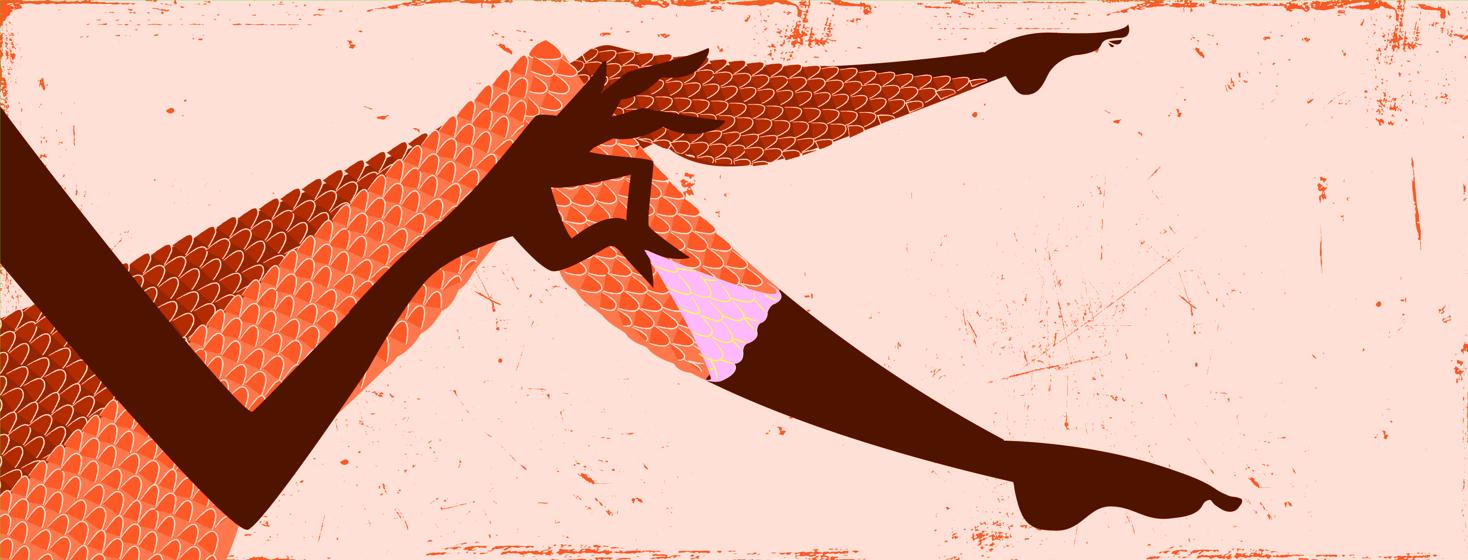 Figure peeling snake skin off of her legs to reveal smooth skin underneath