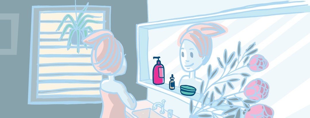 a woman standing in a bathroom with three products in front of her