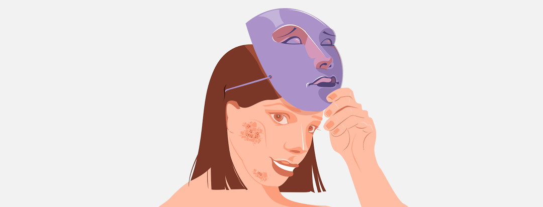 Image shows a girl with eczema on her face removing a sad mask