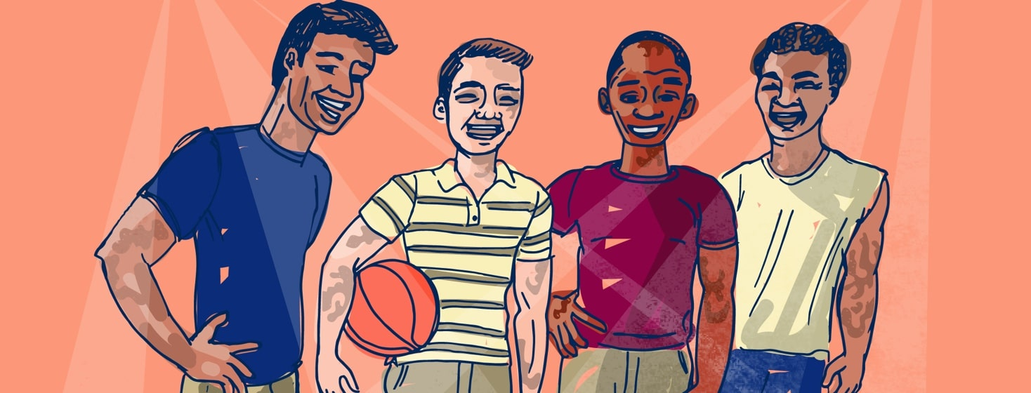 Four guys with visible eczema hang out on a basketball court together
