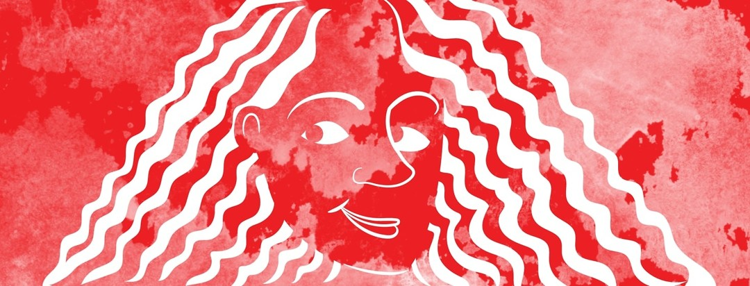 a girl drawn entirely in red