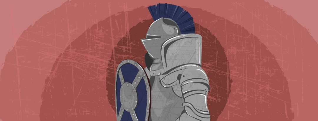 Knight in armor pictured in the foreground with a red and inflamed bullseye in the background