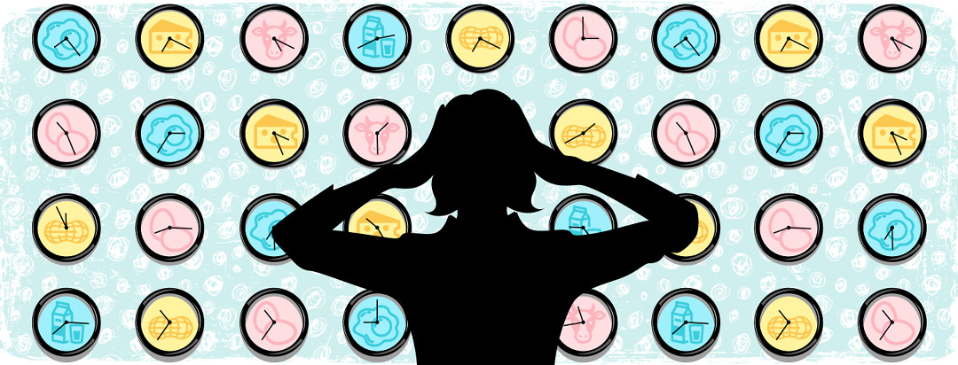 Worried mother staring at a wall of clocks in a nursery with graphics of common allergies including dairy, eggs, and nuts.