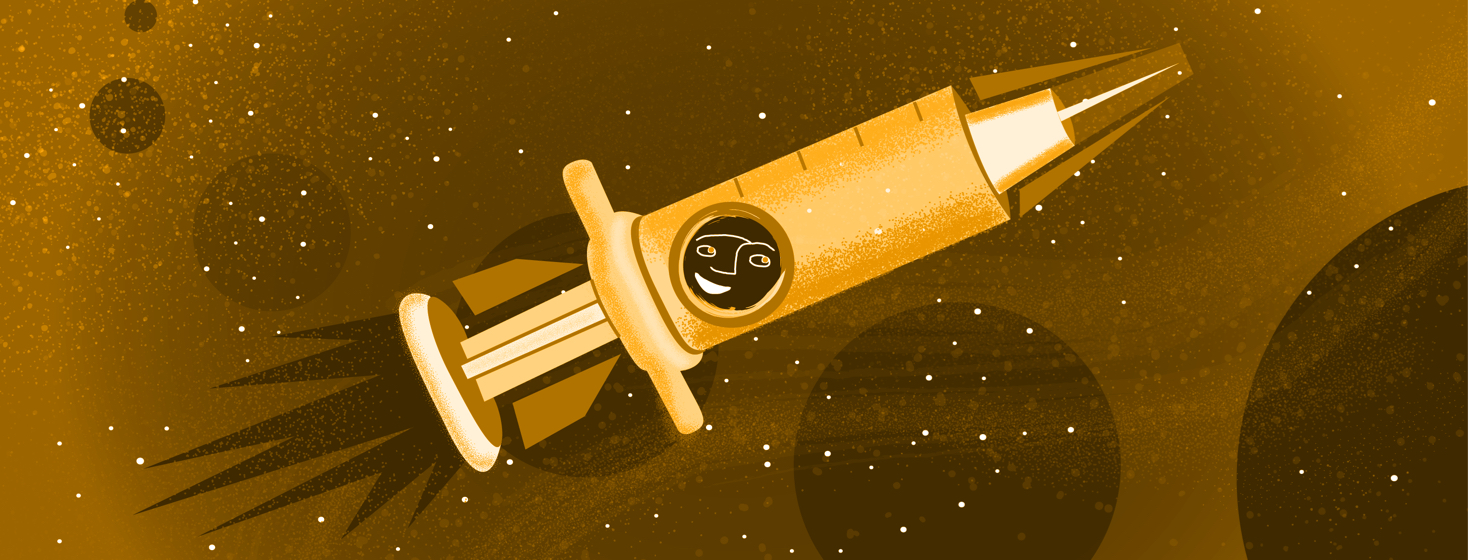 Image shows a rocket ship syringe soaring through planetary space with a smiling face in the window