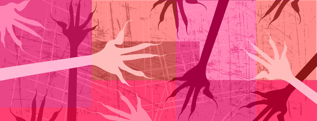 Multiple hands with sharp fingernails scratching the background in pink and red hues.
