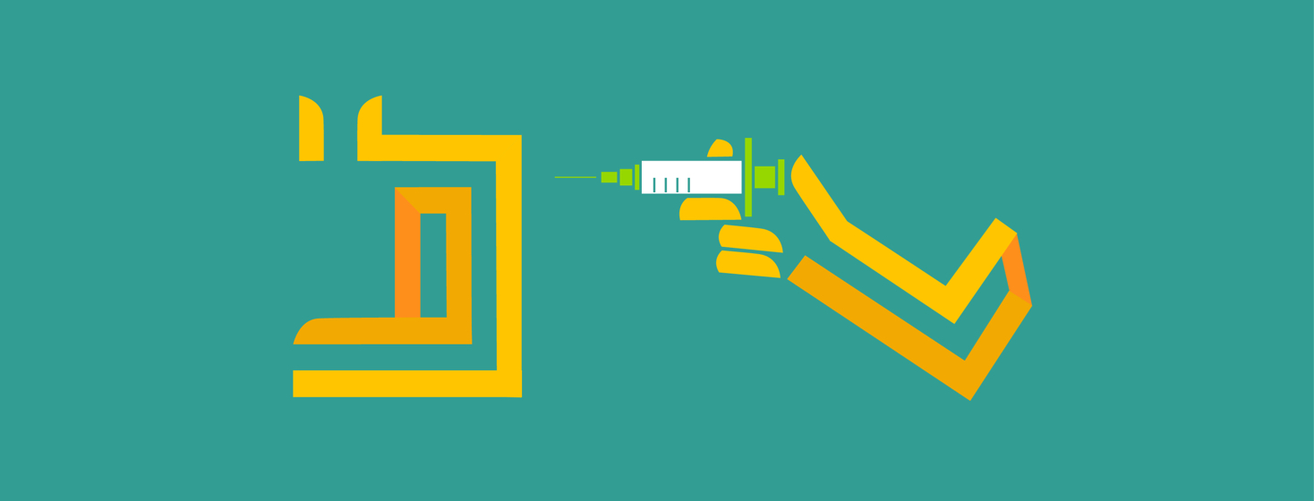 Stylized hand holding a syringe, about to inject Dupixent into a loved one with AD.