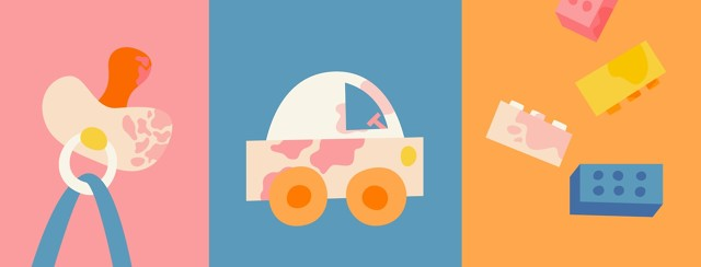 Pacifier, toy car, and lego blocks with eczema patches representing different ages of children