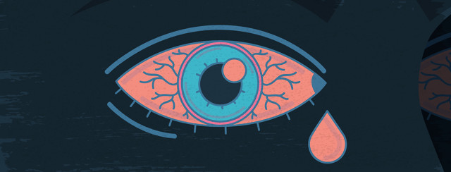 A pink eye with a pink tear dropping out of the corner.