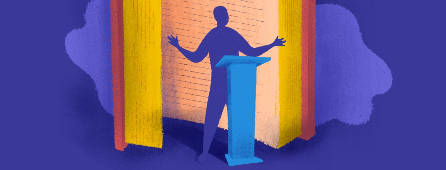 Person standing in front of an open book and podium with arms outstretched confidently telling their story. There are no details in the figure.