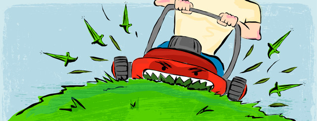 An evil lawn mower is eating blades of grass, which are turning to knives in its wake.