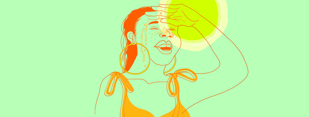 Woman shields her face from the sun while sunspots and sweat pepper her face.