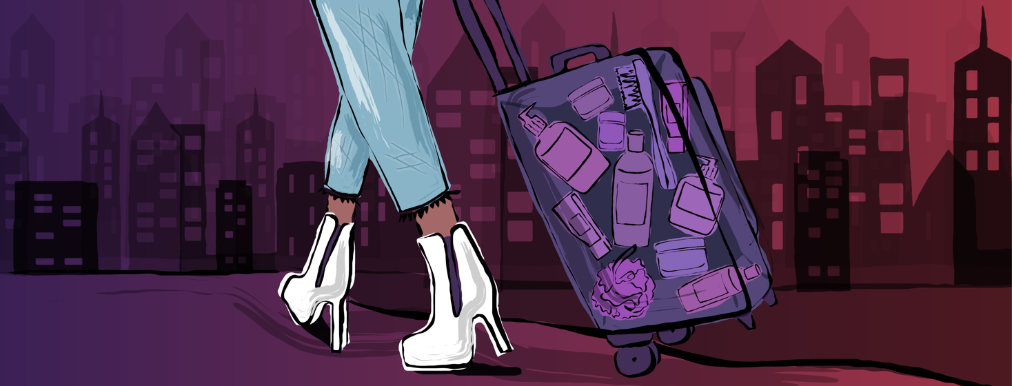 Shown are feet walking down a path towards a cityscape, wheeling a suitcase behind her that shows bottles, jars, loofahs, and other skincare products within.