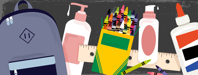 Back to school supplies, including a backpack, crayons, glue, and rulers are featured with lotion bottles included in the spread.