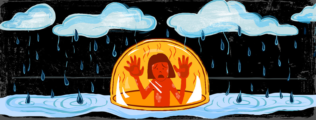 A figure is pawing at the glass of a bubble in the middle of a rainstorm, unable to reach the water outside.
