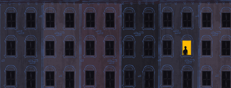 A cityscape of buildings with dark windows at night, all but one are dark. The illuminated window shows a small silhouette of a figure who can't sleep.