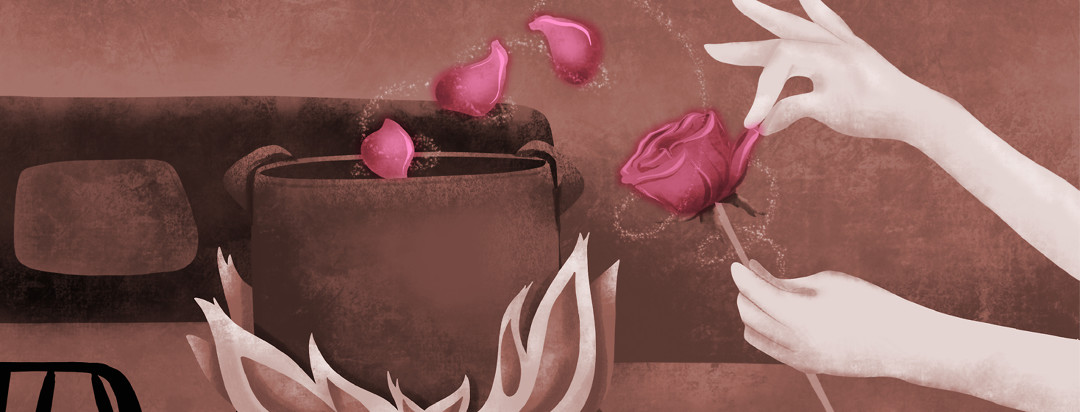 A hand plucks petals from a rose and tosses them into a pot over flames in an old timey looking kitchen.