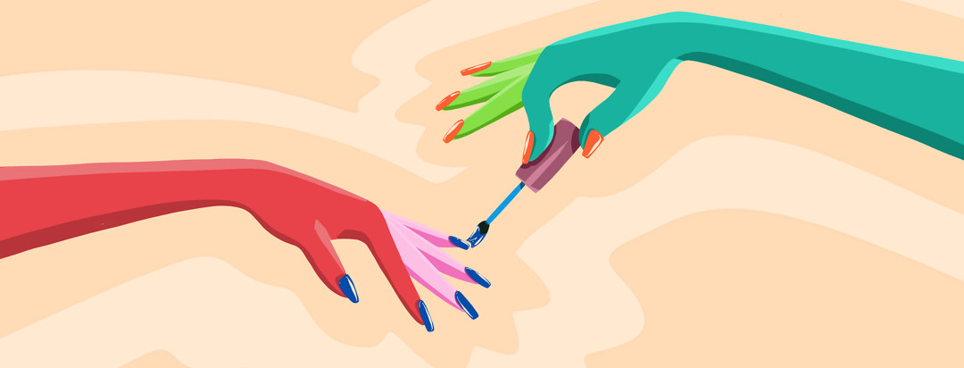 One hand paints crazy nail polish colors on another hand