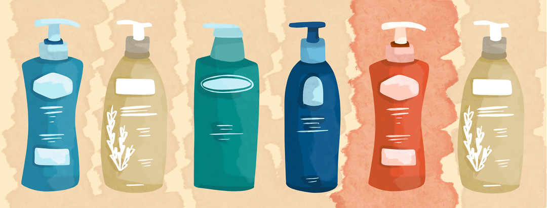 Multiple lotions bottles are featured in soothing colors, while one is in red representing flare-causing lotions.