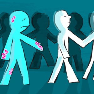 Paper cutout dolls refuse to hold hands with a cutout with a skin condition.