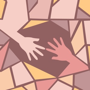 Hands reach out to each other in a stained glass design.