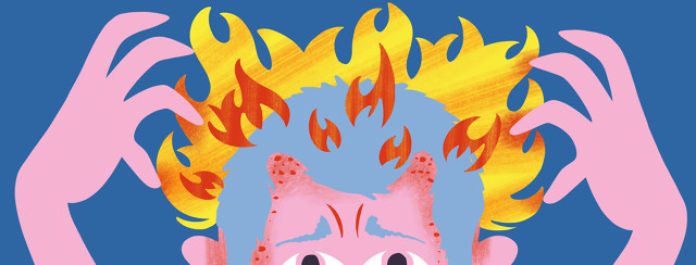 A man desperately tries to itch at his scalp which is irritated and engulfed in flames.