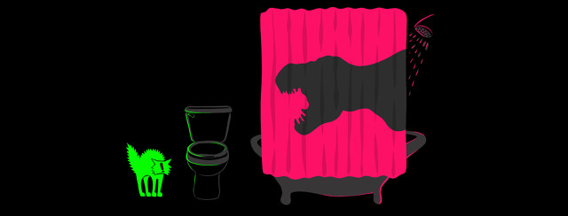 A bathroom scene with a t-rex shadow behind the shower curtain scaring a house cat that's hanging out by the toilet.