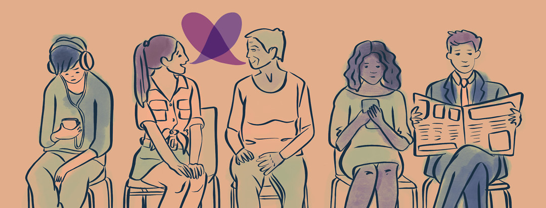 A row of people sitting in chairs in a doctor medical waiting room, two women happily talking, dialogue bubbles forming a heart