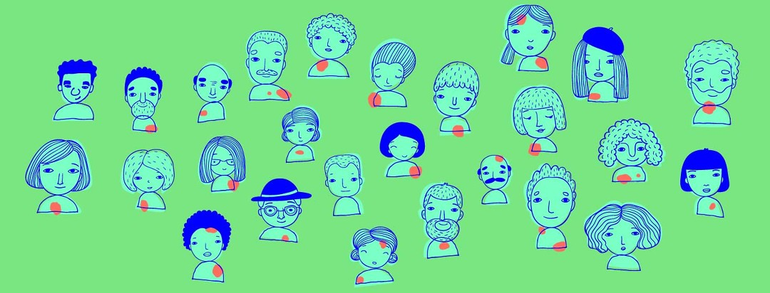 Multiple faces of the eczema community with red dots on various parts of their face/torso to suggest that each experience is unique.