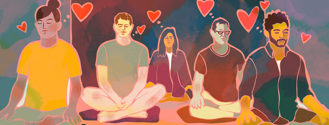 A group of people are meditating in a studio with heart floating above them.