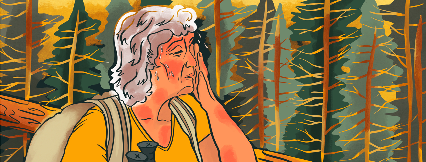 An older woman hikes through the forest, wiping sweat from her brow as patches of eczema inflame on her moist skin.