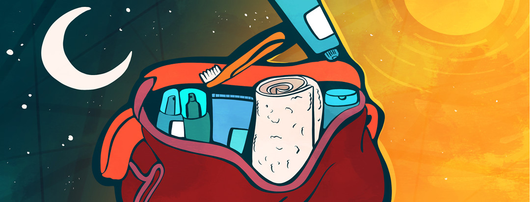 An open bag containing a towel, toothbrush, and skincare products is pictured while the background changes from night to day.
