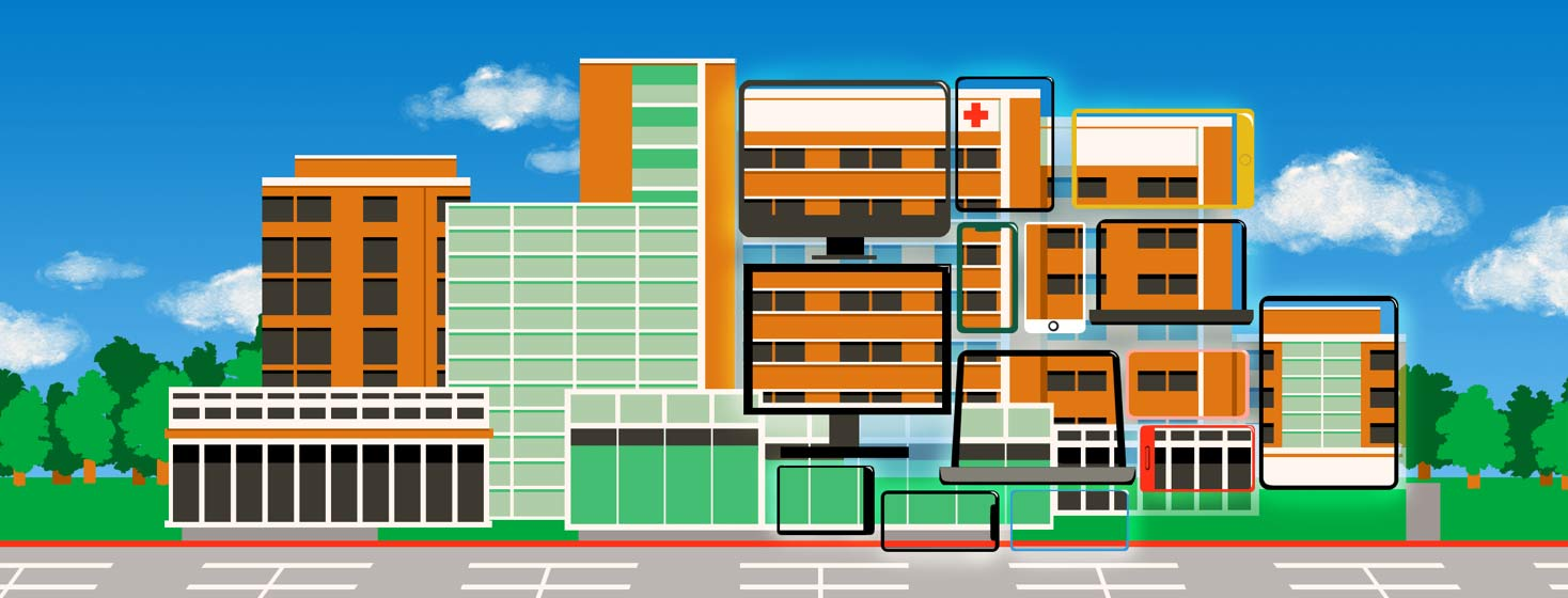 A hospital appears normal on the left but on the right, the structure is built by many different screens and tablets placed together with a part of the image of the hospital on the screen.