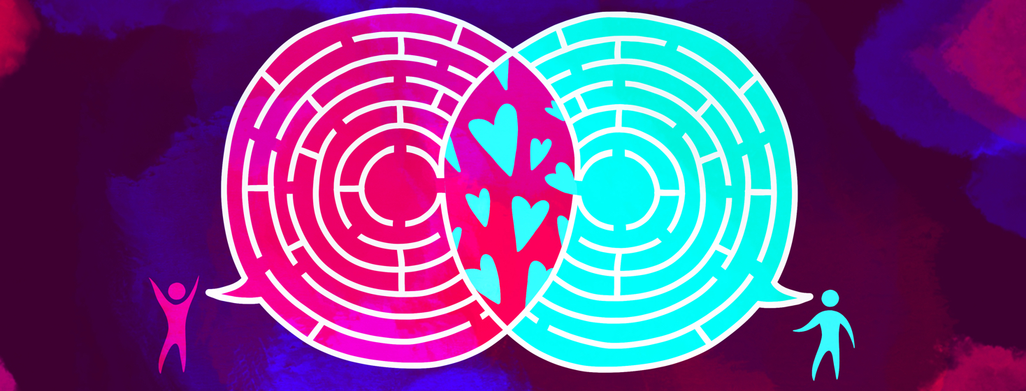 Two people are having a dialogue shown by speech bubbles that have mazes inside, and intersect at a mid point showing hearts.
