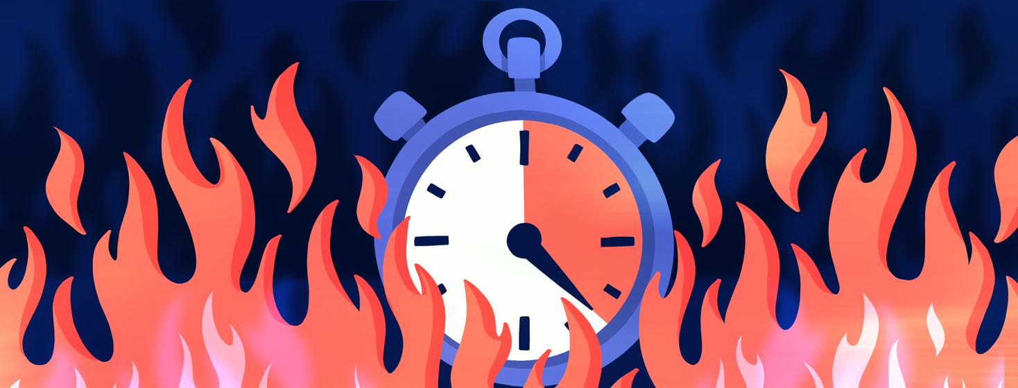A stopwatch ticking down engulfed in flames.