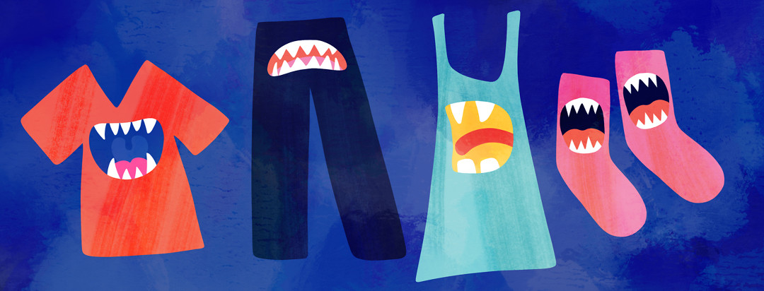 Articles of clothing with scary monster mouths on each one.