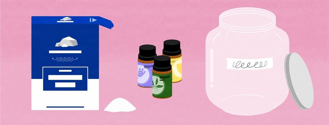 Salt, essential, oils, and jars