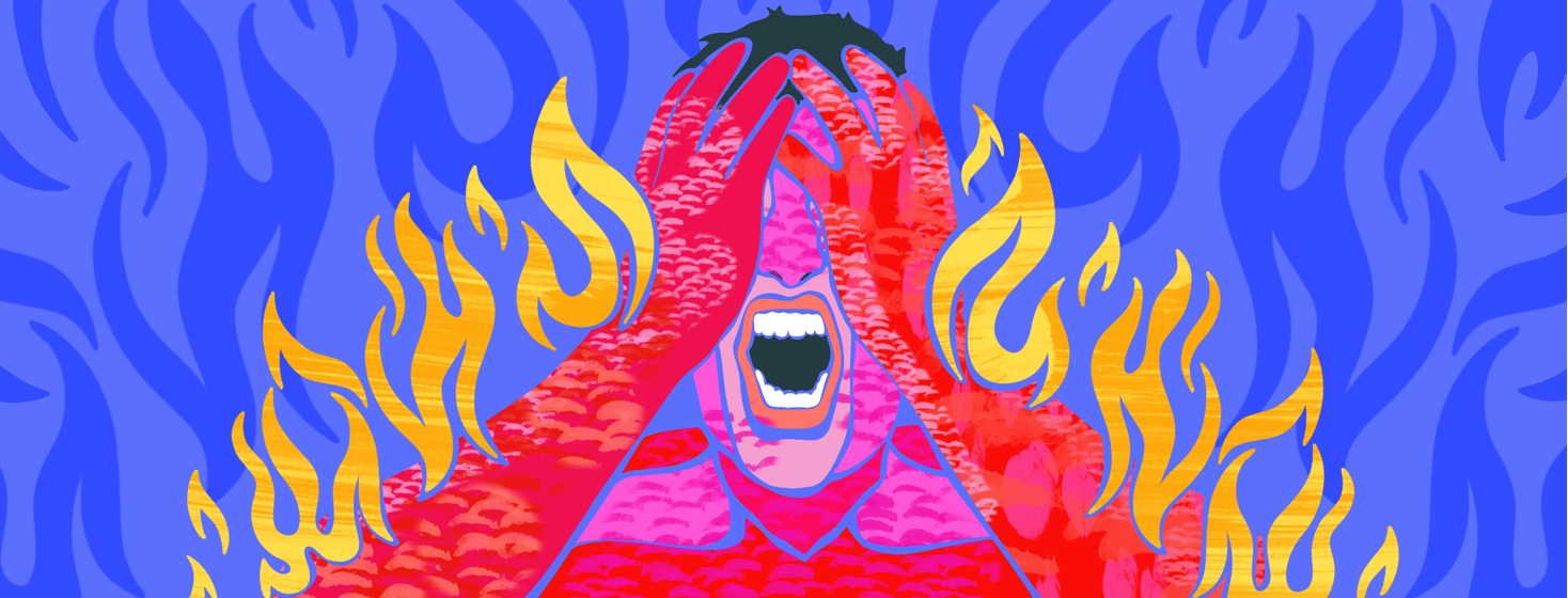 A man grabs his face, screaming, as his arms light up in flames.