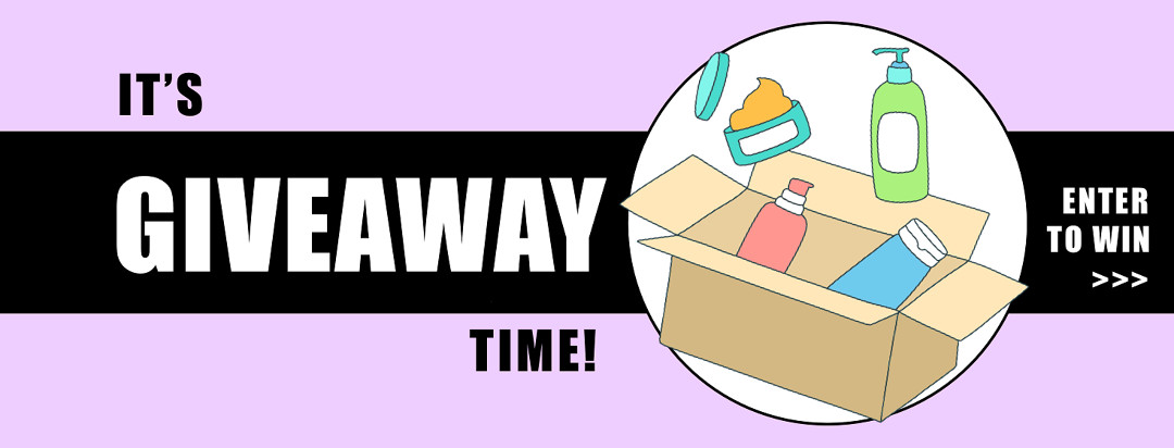 """Text reads """"It's Giveaway Time!"""" with a box full of eczema healing products, and secondary text reading """"Enter to Win"""""""