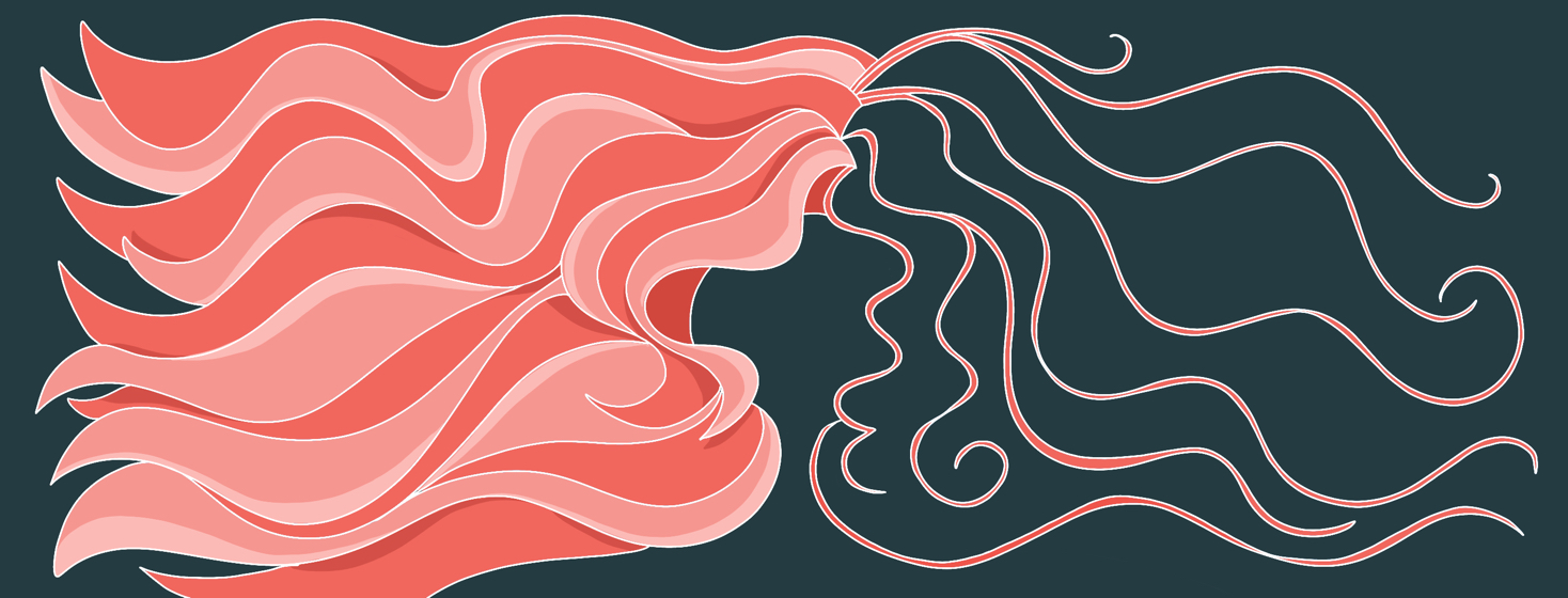 A head of hair is show with a very full luscious half on the left side, followed by a sparse and few stranded right side.