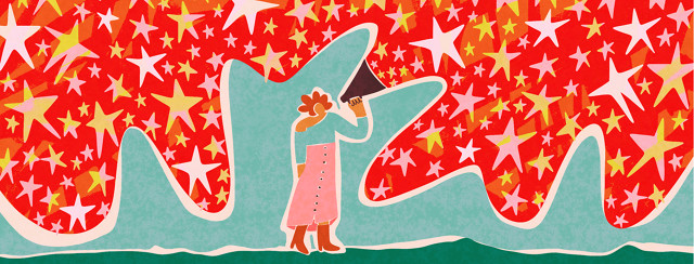 A woman is talking into a megaphone. The megaphone is producing a cloud of vibrant stars.