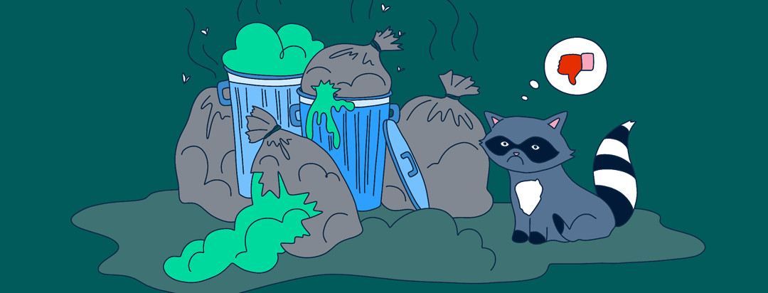 A raccoon sits next to a trash pile looking sad, with a thought bubble that has a thumbs down in it.