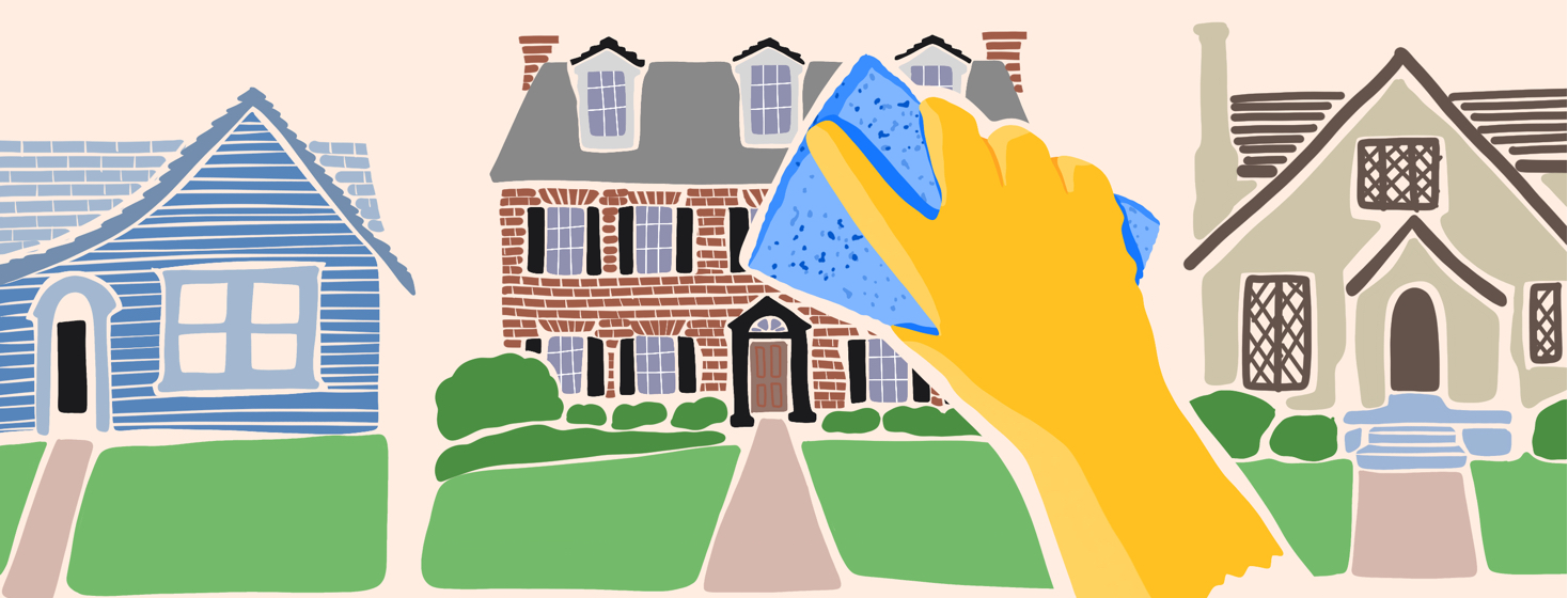 A row of houses with a cleaning gloved hand holding a sponge up to one of them.