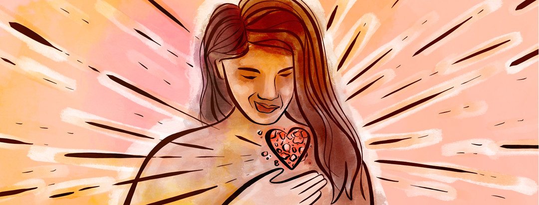 A woman looks down lovingly at a patch of eczema in the shape of a heart on her chest, warmly clutches it, and happy starbursts emanate from it.
