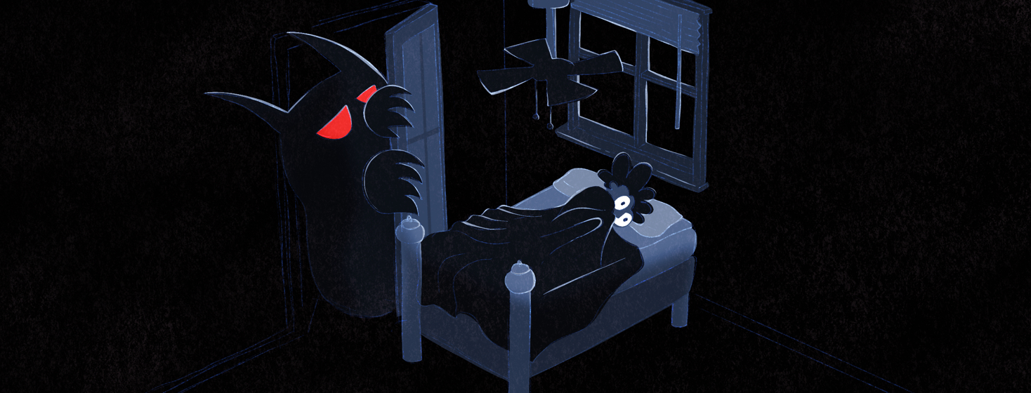 A monster peers around the door of a closet at a person who lays wide-eyed and scared in their bed.
