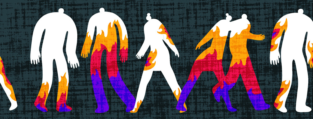 Multiple people walking along a street with varying levels of fire and flames rising within them.