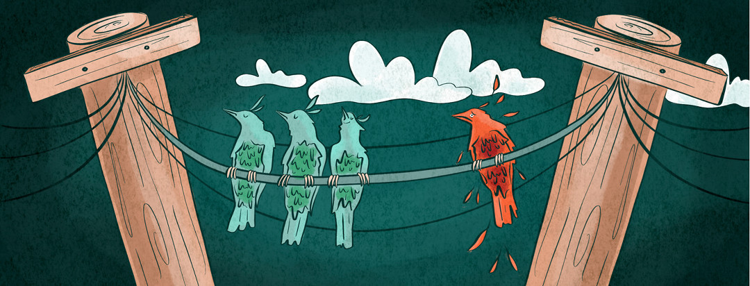 Three birds on a wire are ignoring another sad and isolated bird that's molting feathers.