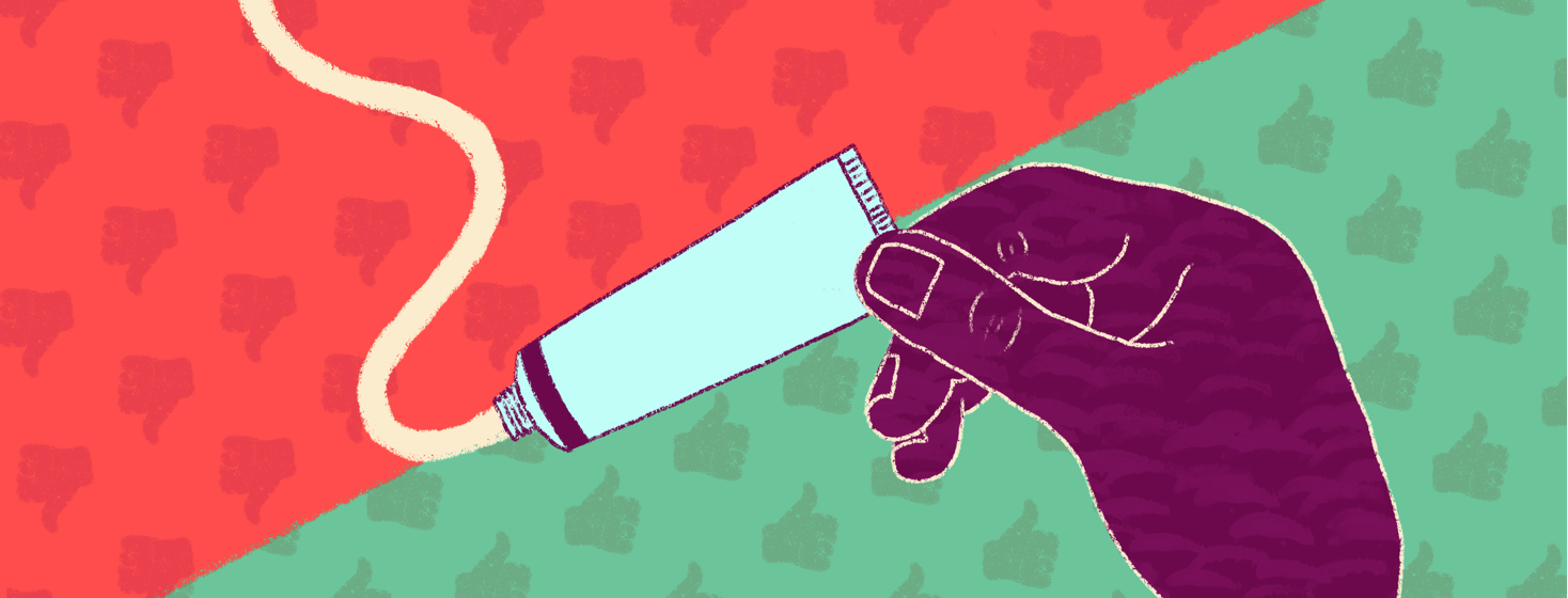 A hand holds up a tube of topical steroid cream. The background is divided between thumbs up and thumbs down icons.