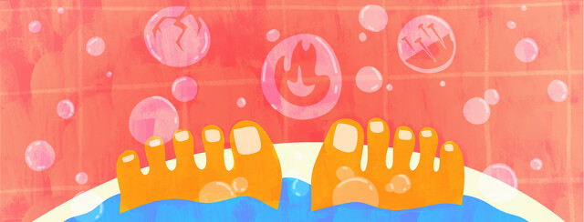 Toes pop up out of the water in a bathtub with bubbles forming all around. Three bubbles have a flame, a crack, and nails inside of them.